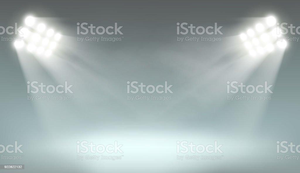 Searchlight on dark background vector art illustration