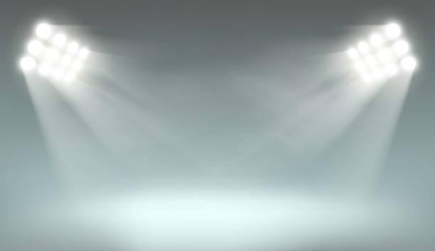 Searchlight on dark background Searchlight illuminates the dark background. Template with lamps for presentation. Stock vector illustration. spotlight stock illustrations