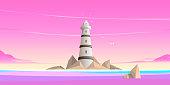 Seascape, lighthouse, flat design.