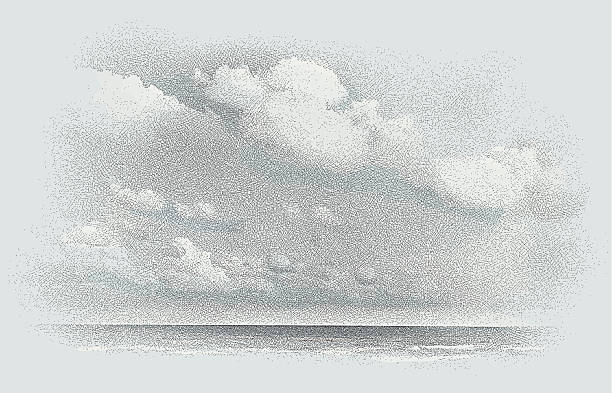 Seascape and Cloudscape Etching Etching illustration of seascape and cloudscape. Lots of great texture. Makes a great background. Etching and color on separate layers for easy editing. etching stock illustrations