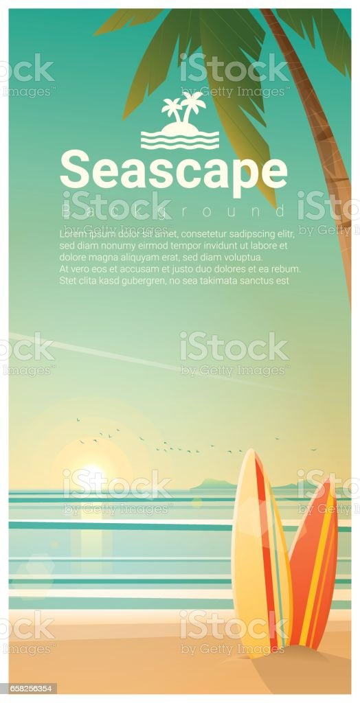 Seascape background with surfboards on the beach , vector , illustration vector art illustration