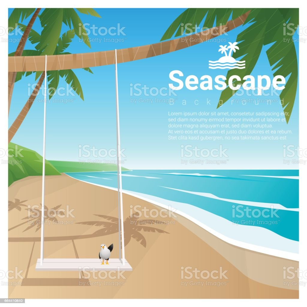 Seascape background with swing on tropical beach , vector , illustration vector art illustration