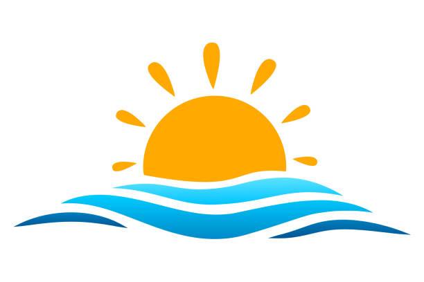 seascape, blue sea and sun, summer sign – vector for stock - jezioro stock illustrations