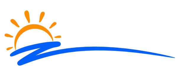 Seascape, blue sea and sun, wave, summer sign – stock vector Seascape, blue sea and sun, wave, summer sign – stock vector annotation stock illustrations