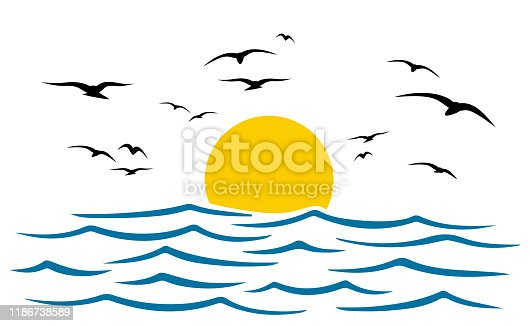Seascape, blue sea and sun, wave, summer sign with seagulls - stock vector
