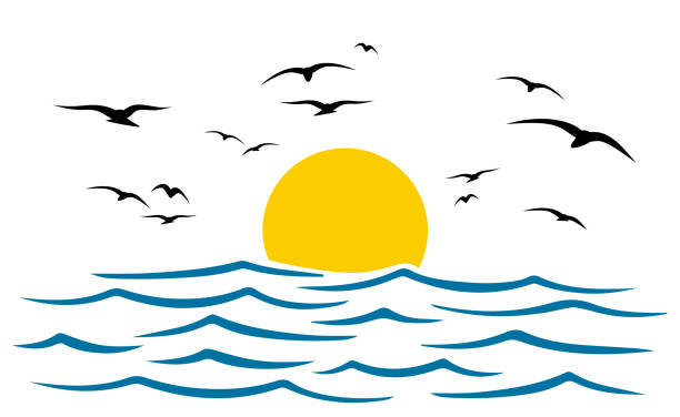 Seascape, blue sea and sun, wave, summer sign with seagulls - stock vector Seascape, blue sea and sun, wave, summer sign with seagulls - stock vector annotation stock illustrations