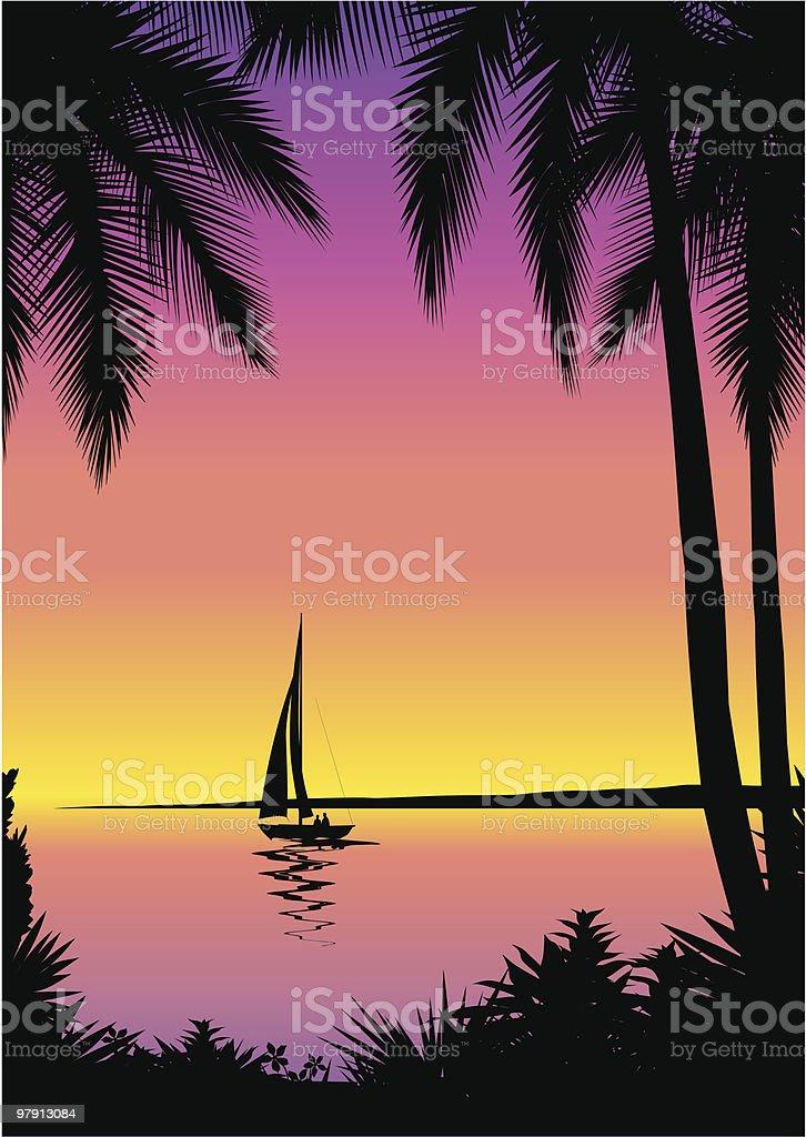 Seascape illustration background vector art illustration