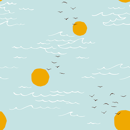 Seascape, sea and sun, wave, summer sign with seagulls.  Seamless pattern. Minimalist style.