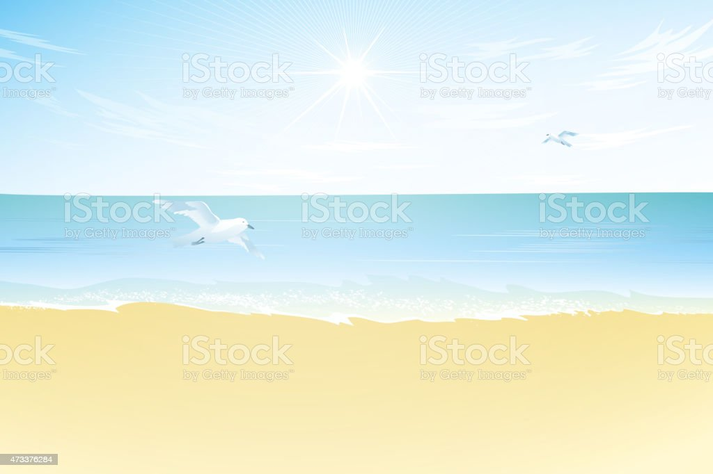 Seascape vector illustration. Paradise beach. vector art illustration