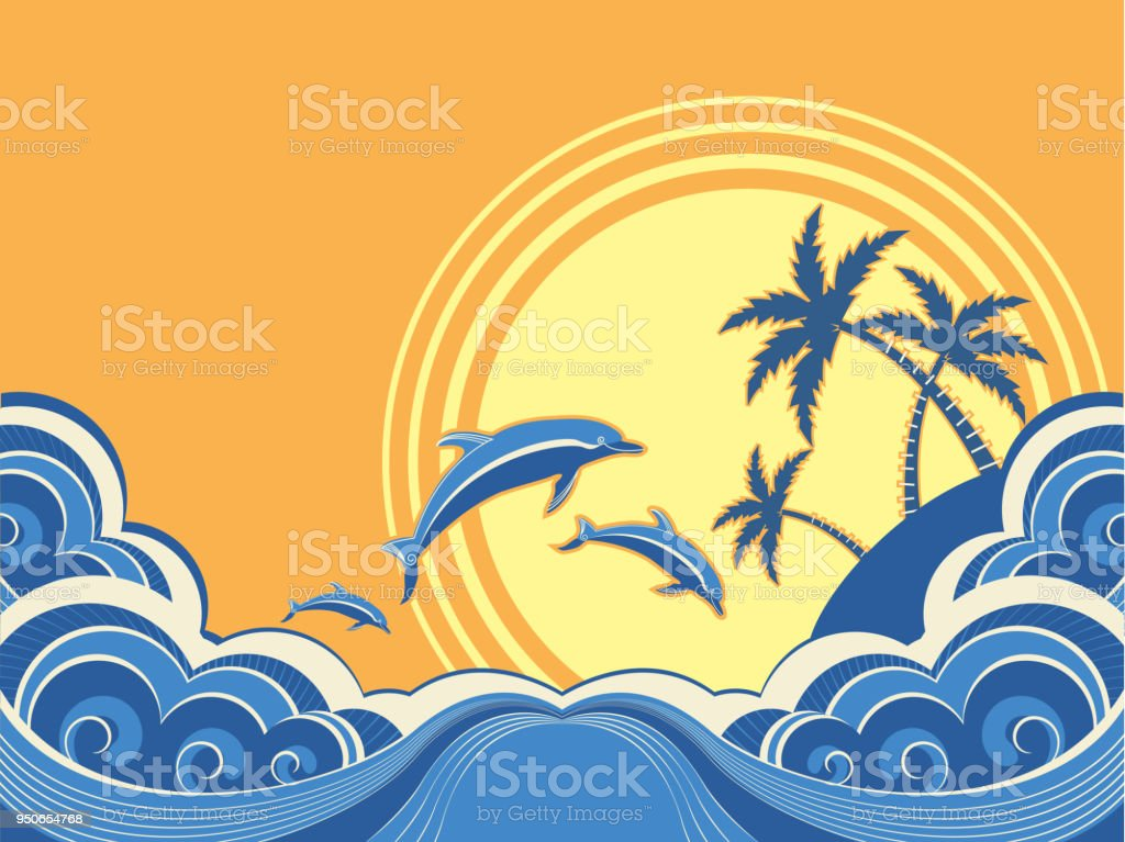 Seascape waves poster with dolphins. Vector illustration vector art illustration