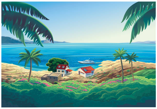 Seascape with a house and a beach on the sea. vector art illustration