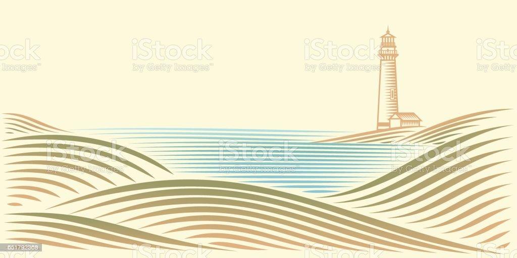 Seascape with Lighthouse – Vektorgrafik