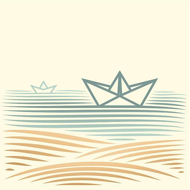 seascape mit Papier Boot – Vektorgrafik