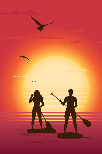 Seascape with two person on SUP paddle board