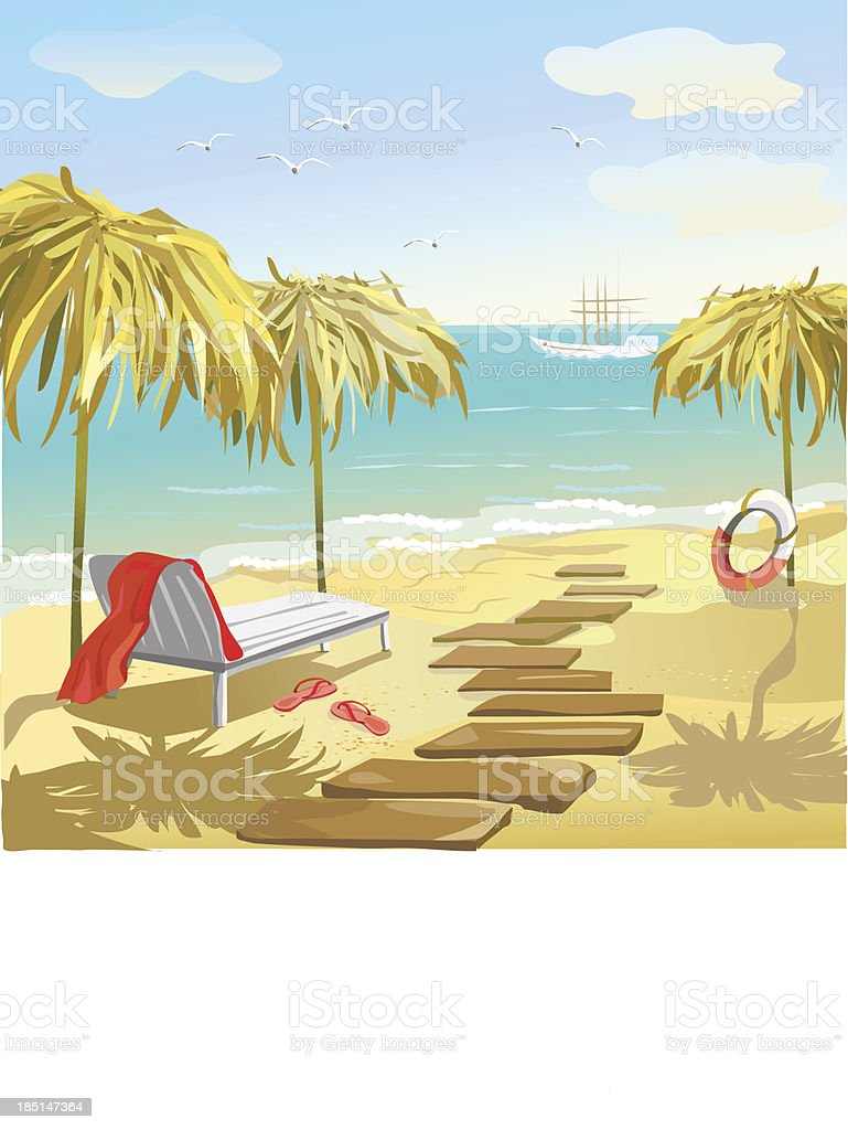 seascape with umbrellas and sunbed royalty-free seascape with umbrellas and sunbed stock vector art & more images of beach