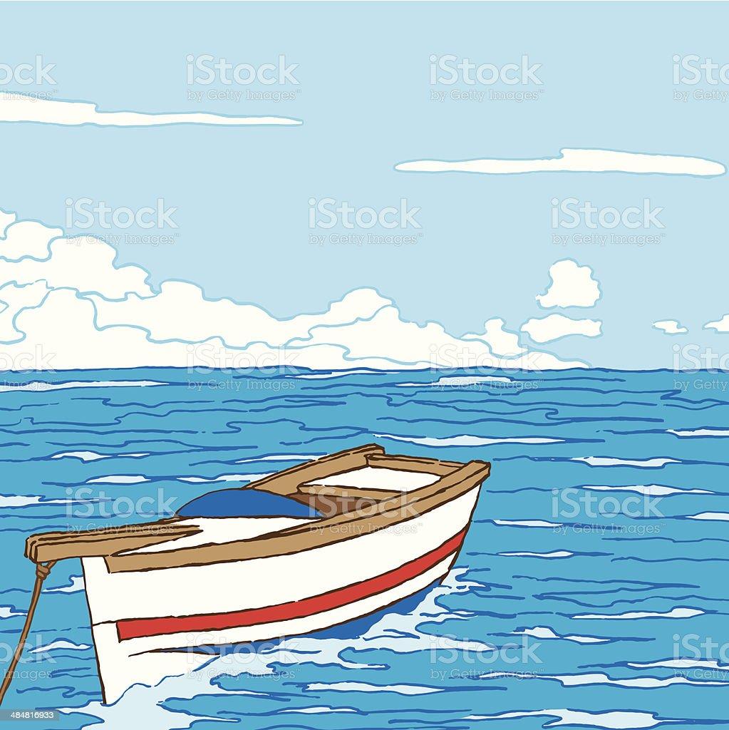 Paysage marin avec bateau en bois - Illustration vectorielle