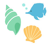 Seashell and tropical fish icon