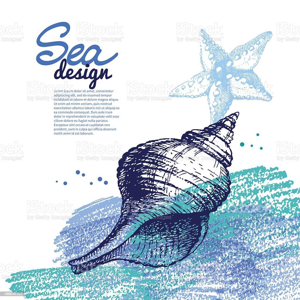 Sfondo Di Conchiglia Design Nautico Mare Disegno A Mano E Schizzi
