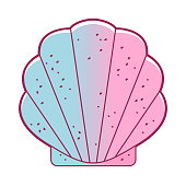Seashell, bivalved mollusks. Exotic scallop, marine mollusk wild life-nature. Simple sea shell. Packing house for small dolls. Vector