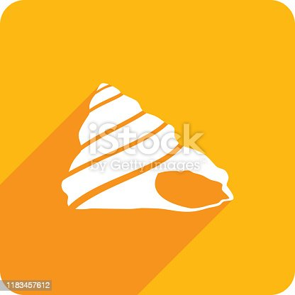 Vector illustration of a yellow seashell cone icon in flat style.