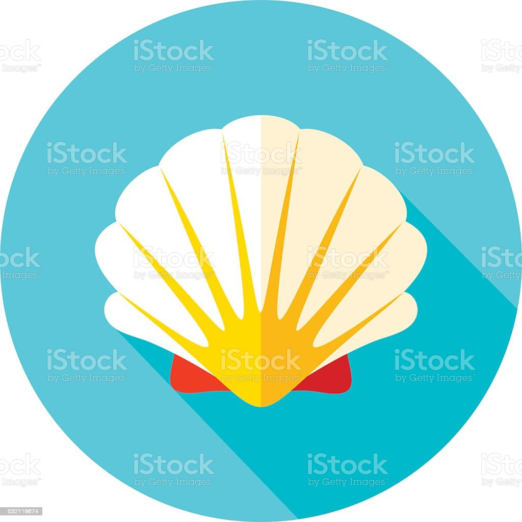 Seashell flat icon with long shadow vector art illustration