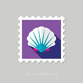 Seashell flat stamp with long shadow