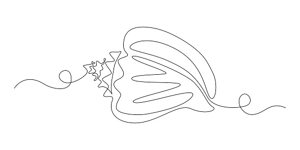 Seashell in One continuous line drawing style for logo or emblem. Sea snail Shell for marine mascot concept for nautical life icon. Modern simple vector illustration