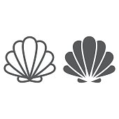 istock Seashell line and glyph icon, animal and underwater, shell sign vector graphics, a linear pattern on a white background, eps 10. 948916436