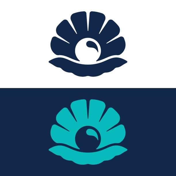 Seashell line and glyph logo Seashell, Pearl Jewelry, Animal Shell, Oyster, Logo mollusk stock illustrations