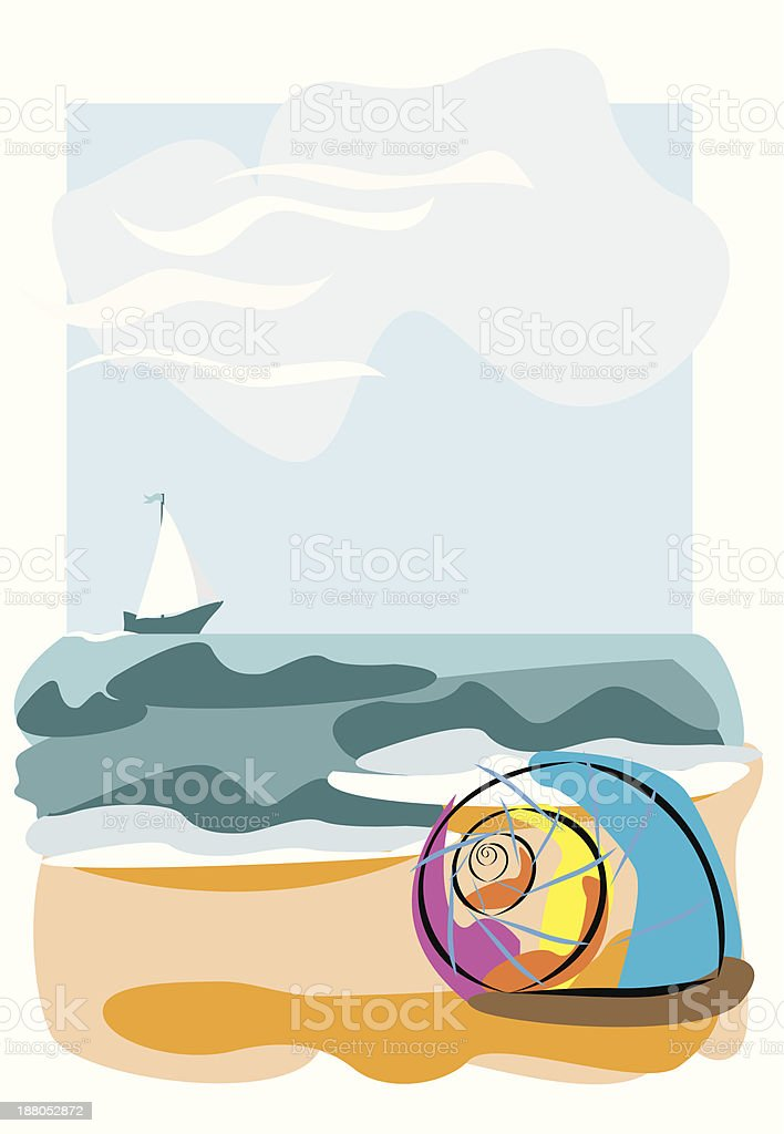 Seashell on the beach royalty-free stock vector art
