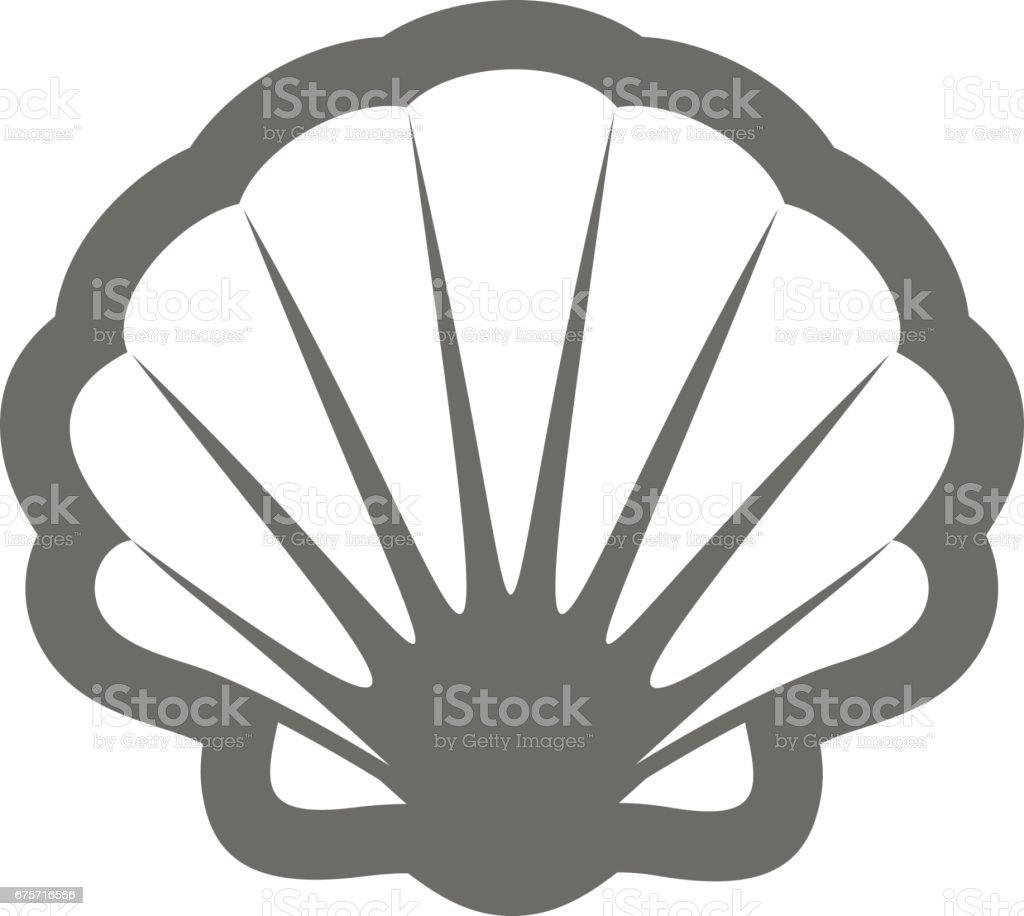 Seashell outline icon. Summer. Vacation vector art illustration