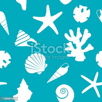 Vector illustration of seashells in a repeating pattern against a teal background.