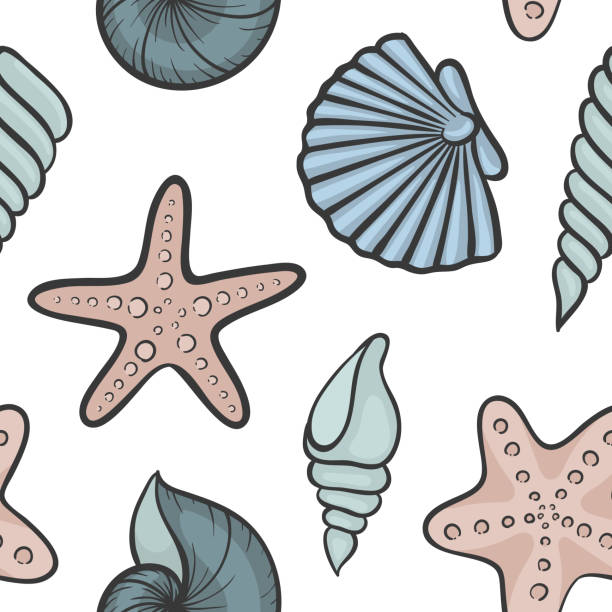 illustrazioni stock, clip art, cartoni animati e icone di tendenza di seashell seamless pattern. design for holiday greeting card and invitation of seasonal summer holidays, summer beach parties, tourism and travel. - immerse in the stars