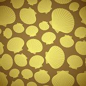 Yellow and Brown Seashell seamless pattern