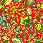 Seashell marine seamless pattern - vector illustration