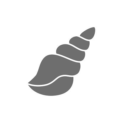 Seashell, shell grey icon. Isolated on white background