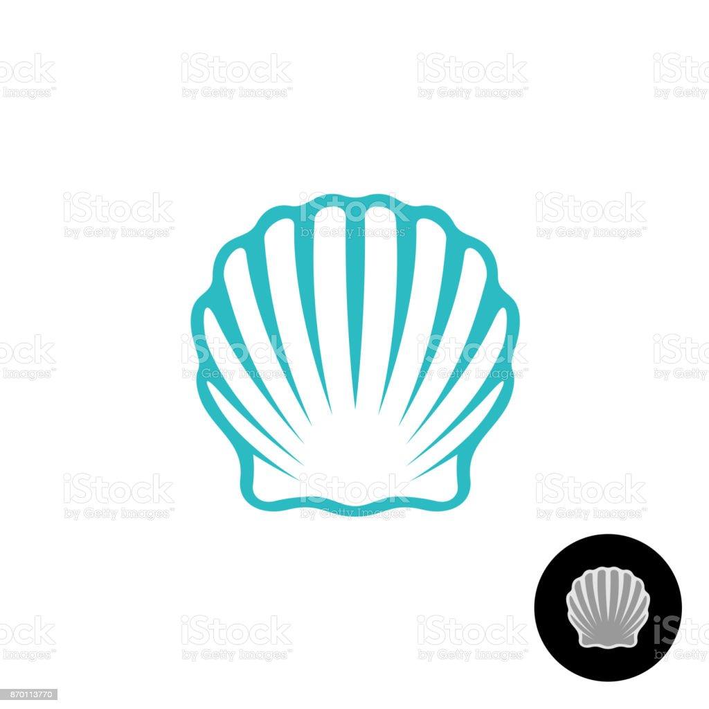 Seashell symbol. Scallop seashell elegant symbol. Sea shell isolat vector art illustration
