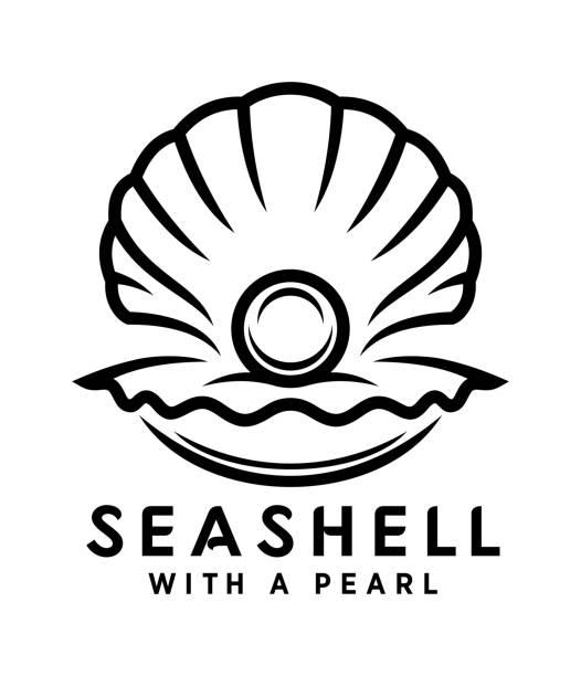 stockillustraties, clipart, cartoons en iconen met seashell met parel overzicht pictogram - zeeschelp
