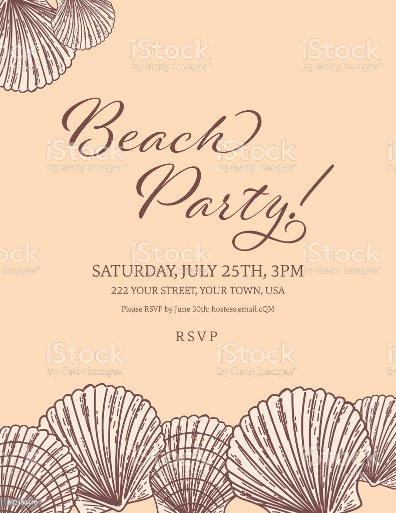 Seashells Border With A Beach Party Invitation Template Stock