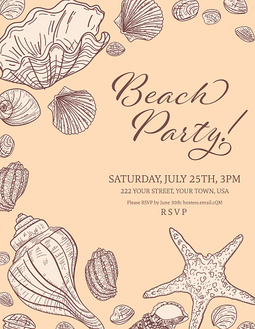 Seashells Border With A Beach Party Invitation Template