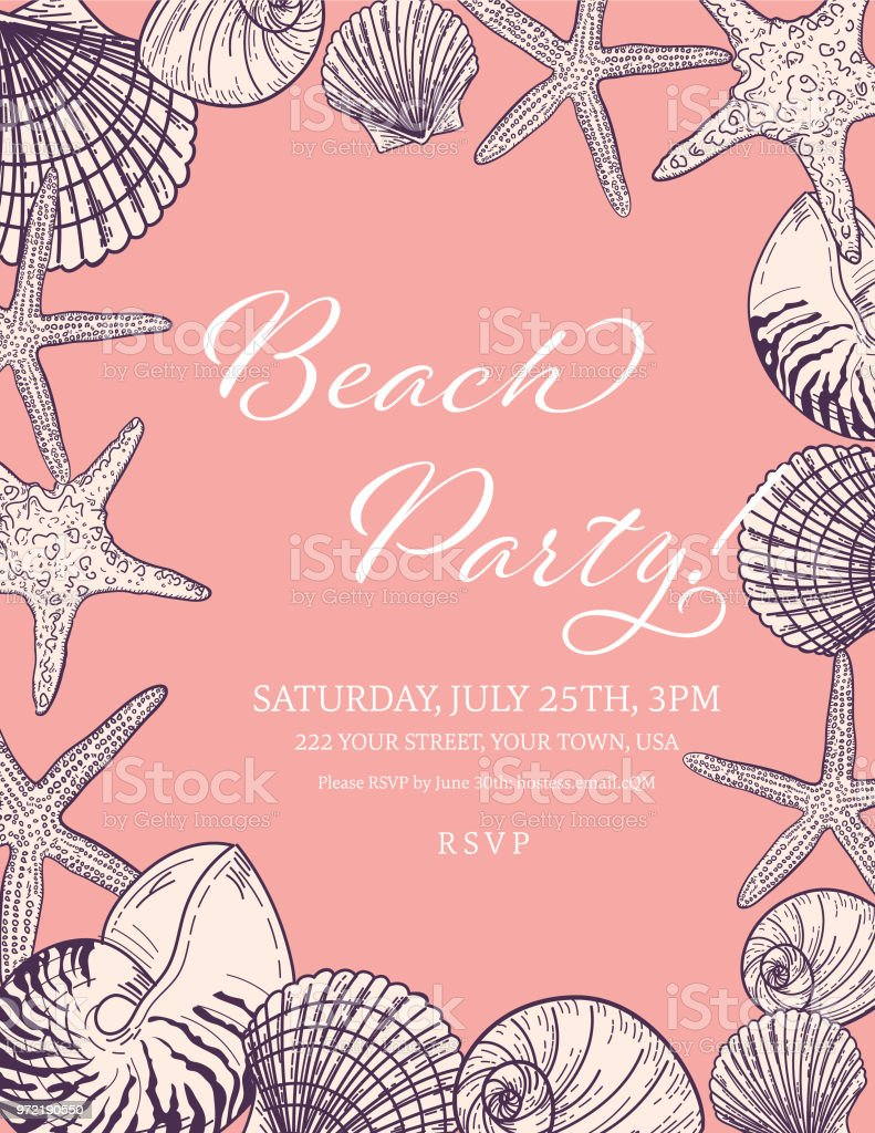 seashells border with a beach party invitation template stock vector