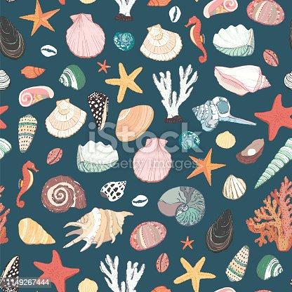 Seashells illustrations, sea life objects seamless pattern