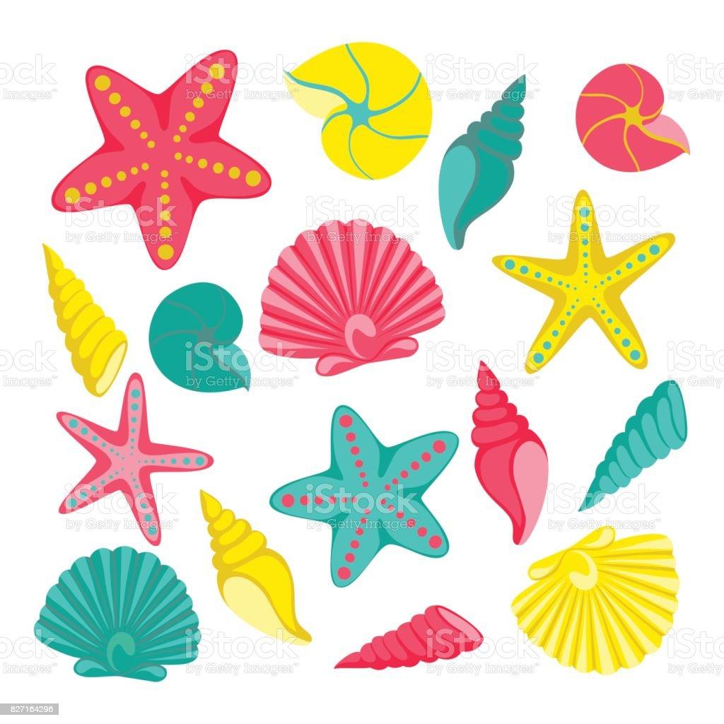 Schelpen instellen. ontwerp voor groet kerstkaart en uitnodiging van seizoensgebonden zomervakantie, zomer beach partijen, toerisme en reizen - Royalty-free Achtergrond - Thema vectorkunst