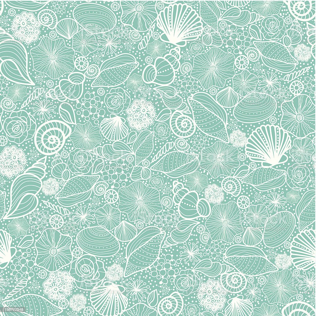 Seashells Texture Seamless Pattern Background vector art illustration