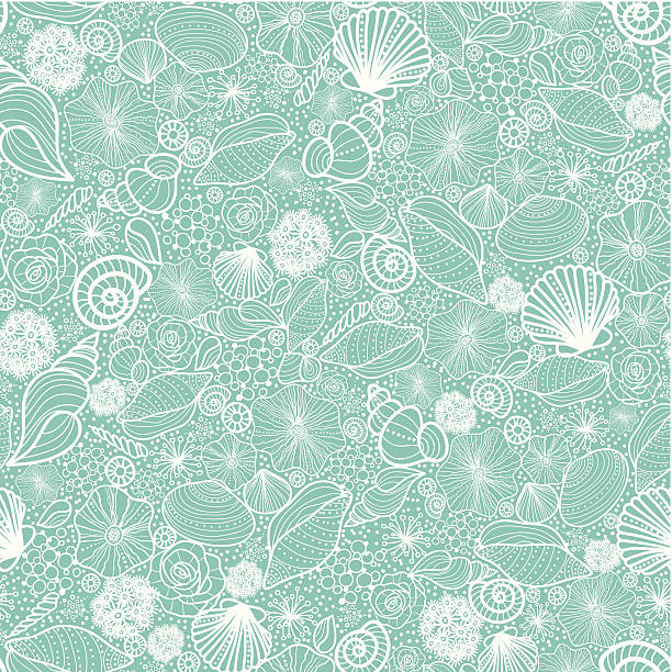 seashells texture seamless pattern background - seashell stock illustrations, clip art, cartoons, & icons