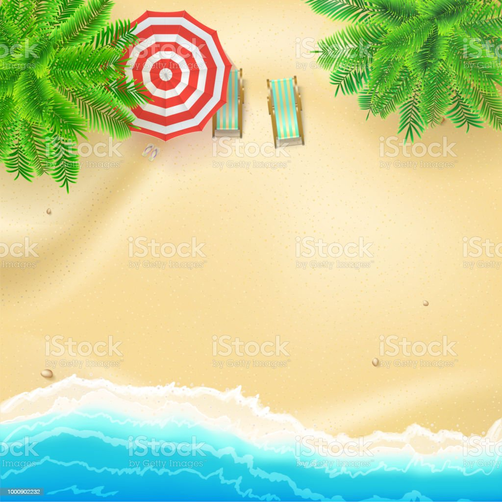 Seashore and sandy beach, flat lay. Top view of sandy beach with summer accessories. Tropical beach, palms, surf waves, sun umbrella, deckchairs. Realistic vector background of best moments of summer Seashore and sandy beach, flat lay. Top view of sandy beach with summer accessories. Tropical beach, palms, surf waves, sun umbrella, deck chairs. Realistic vector background of best moments of summer Backgrounds stock vector