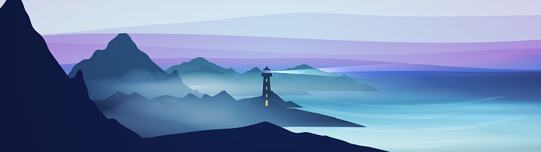 Seashore landscape with lighthouse