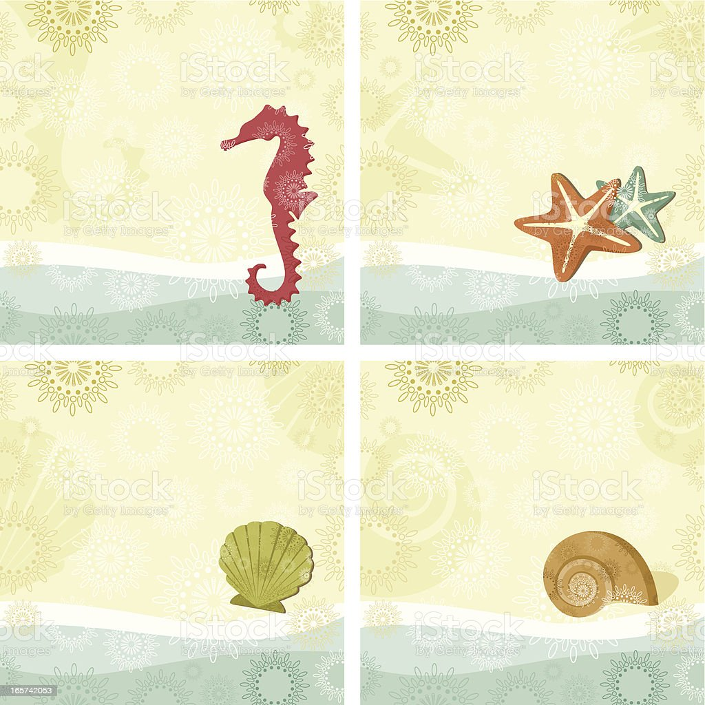 Seashore patterns vector art illustration