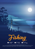 Seashore poster at night with lighthouse and fisherman