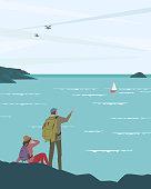 Seaside background. New horizons exploration